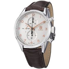 9/10 Tag Heuer Men's CAR2012.FC6236 'Carrera' Silver Dial Brown Leather Strap Watch | Overstock™ Shopping - Big Discounts on Tag Heuer Tag Heuer Men's Watches
