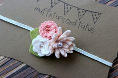 Felt flower headband   newborn/baby/toddler by muffintopsandtutus