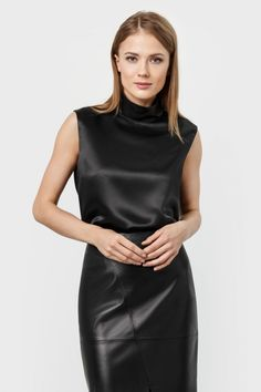 Black satin sleeveless blouse