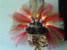 Handmade Lighted Christmas Basket Wreath #Unbranded