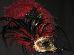 Decor Swan Special red/black/gold, ostrich/coque, ruby crystals