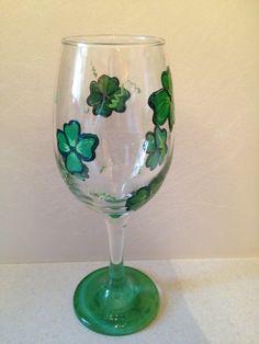 St Patricks Day wine glass