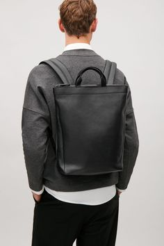 COS image 5 of Leather tote backpack in Black