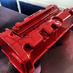 Hydrodipped and Candied Red Carbon Fiber Honda K Series Valve Cover By Voyles Performance