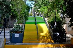 colorful public stairs in Athens