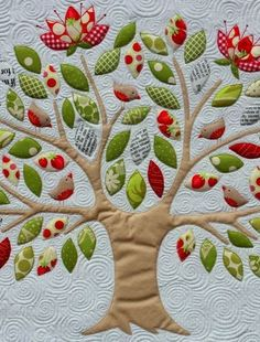 swirly quilting- nice tree quilt!!