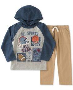 Kids Headquarters 2-Pc Sports Graphic-Print Hooded Shirt & Pants Set, Toddler & Little Boys (2T-7) - Navy/Khaki