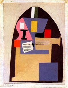 """artist-picasso:  """" Guitar via Pablo Picasso  Medium: gouache on cardboard"""""""