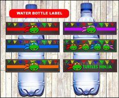 Ninja Turtles Chalkboard Water bottle labels by talitaprintstore