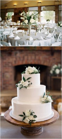 White and green wedding centerpieces and cake flowers by Swank Floral at Hunter Valley Farm in Knoxville, TN.
