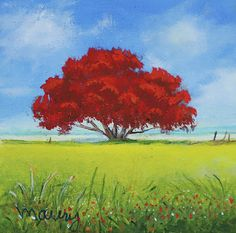 Flamboyant Near The Beach by Alicia Maury Tree Painting Easy, Simple Oil Painting, Small Paintings, Original Paintings, Art Paintings, Impressionist Paintings, Watercolor Paintings, Puerto Rico, Minimalist Painting