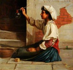 Girl Blowing Soap Bubbles - Valentine Cameron Prinsep
