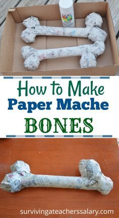 How to Make Paper mache bones - this simple paper mache tutorial is great for making dinosaur bones for dinosaur birthday parties, halloween home decor, and even fun science and anatomy lessons with kids! Dinosaur Crafts Kids, Dinosaur Halloween, Halloween Crafts For Toddlers, Dinosaur Birthday Party, Toddler Crafts, Halloween Science, Birthday Parties, Kids Crafts, Dinosaur Decorations