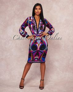 Chic Couture Online - Amilie Multi-Color Print Plunging V Dress,  (http://www.chiccoutureonline.com/amilie-multi-color-print-plunging-v-dress/)