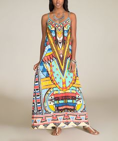 This Yellow & Turquoise Geometric Maxi Dress by Flying Tomato is perfect! #zulilyfinds
