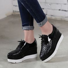 2016 Spring Womens Wedge Hidden Heel Lace-Up Casual Shoes Fashion Creeper Shoes