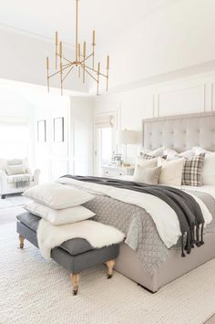 Neutral winter bedroom ideas with layers and gray and white plaid bedroomdecor Bedroom Layouts, Room Ideas Bedroom, Bedroom Sets, Home Decor Bedroom, Bedroom Furniture, Bed Room, Kids Bedroom, Bedroom 2018, Furniture Sets