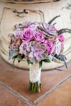 """{Elegant Wedding Bouquet Comprised Of: Fresh Lavender, Lavender-Gray Succulents, Violet & Lavender Roses, Lavender-Taupe """"Vintage"""" Amnesia Roses, Broad Leaf Dusty Miller, & Green Foliage}"""