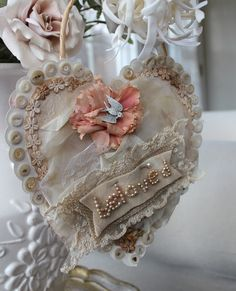 Beautiful heart with vintage buttons.