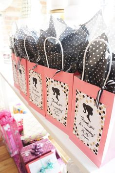 Barbie favor bags from a Glam Barbie Baking Birthday Party on Kara's Party Ideas | KarasPartyIdeas.com (11)