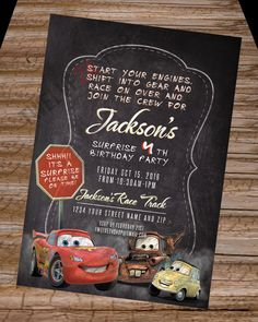 Disney's Cars Birthday Invitation! Lightning McQueen Mater Luigi Birthday Party Invite! Cars The Movie Card Free Thank You Card by Twelve24Shop on Etsy