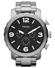 Fossil Watch, Mens Chronograph Nate Stainless Steel Bracelet 50mm JR1353 - Fossil - Jewelry & Watches - Macys $125.00