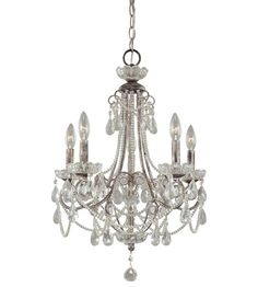 Minka-Lavery Signature 5 Light Mini Chandelier in Distressed Sil 3134-207 #lightingnewyork #lny #lighting