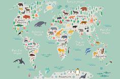Safari-Kids-Map-Mural-Wallpaper