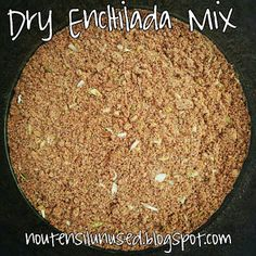 Dry Enchilada Sauce Mix  Yields 1 1.5oz package of dry mix 2 teaspoons mild chili powder 2 teaspoons paprika 2 teaspoons cornstarch 1-1/2 teaspoons salt 1-1/2 teaspoons dried onion flakes 1 teaspoon sugar 1 teaspoon ground cumin 1 teaspoon garlic powder 1/2 teaspoon oregano 1/2 teaspoon ground coriander 1/4 teaspoon cayenne  Reconstitution Mix all ingredients and store in an airtight container. Add 1 cup water or chicken broth and 8 oz tomato sauce to dry mix.