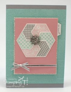 Stampin up six-sided sampler stamps and hexagon punch. Built-up layered hexagon. Paper Cards, Diy Cards, Folded Cards, Hexagon Cards, Hexagon Quilt, Sunshine Coast, Card Tags, Greeting Card, Pretty Cards