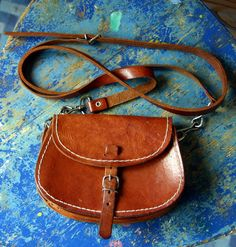 Small Vintage Brown Leather Mini Saddle Bag Purse by misele