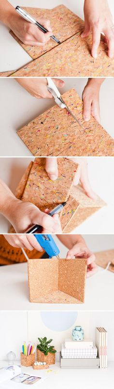 How to make hanging DIY office organizers with sheets of cork