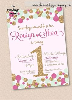 Mint, gold and pink! We loved this custom color way with glitter for this first birthday party invitation! Birthday Party Invitation by MintDesignCo