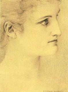 fernand khnopff art   Woman - Khnopff, Fernand - Academic Art - Crayon - Portrait ...