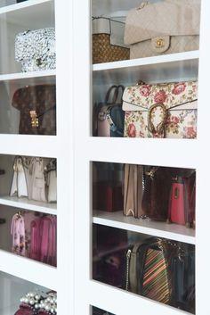 Shoe and bag closet , walk in closet, designer bags More on www. Bag Closet, Closet Storage, Closet Organization, Organizing Shoes, Organization Ideas, Wardrobe Storage, Bedroom Storage, Walk In Closet Design, Closet Designs