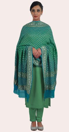 Turquoise- Sea Green Ombre Banarasi Zari Bandhej Dupatta With Suit