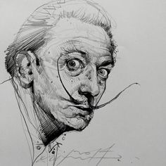 """""""A true artist is not one that is inspired but one who inspires others."""" Salvador Dali - drawing by Alvin Chong"""
