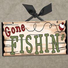 GONE FISHING Wall/Door Sign ... idea for nursery theme