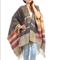 "The KARA print tassel poncho - GREY Multi pattern tassel poncho. Exceptional quality.,dimensions 61"" x 55"". 100% acrylic. AVAILABLE IN GREY & NAVYNO TRADE, PRICE FIRM Bellanblue Accessories"