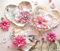 Sweet Heart Tags - Mixed Media by Kaori Fujimoto using Madeleine Collection, Sept 2014