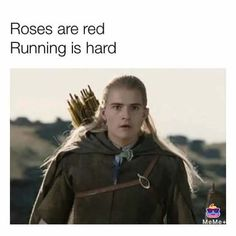 Roses are red Running is hard Legolas. I don't get it, oh wait They're taking the hobbits to Isengard << this is some advanced humor Hobbit Funny, O Hobbit, Legolas Funny, Hobbit Humor, Hobbit Quotes, Legolas And Aragorn, Memes Humor, Funny Memes, Middle Earth