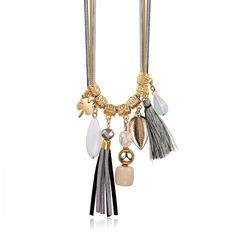 Boho Sweater Necklace Gold Leaf Tassel Pendant Women Vintage Necklaces... ($30) ❤ liked on Polyvore featuring jewelry, necklaces, accessories, leaf necklace, gold pendant, gold necklace, boho necklaces and vintage tassel necklace