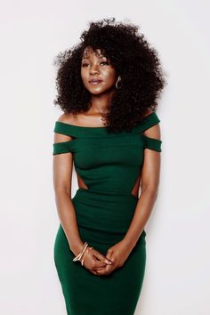 dress cut-out green dress clothes off the shoulder beautiful black girls killin it forest green bodycon dress Afro Punk, Black Girls, Black Women, Curly Hair Styles, Natural Hair Styles, Pelo Natural, Natural Curls, Black Is Beautiful, Dress Me Up