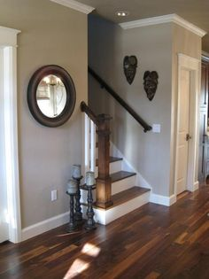 "From another pinner, ""Pretty gray — sherwin williams ""Pavillion Beige"" I have painted my past three houses this color. I always get asked what the color is. It is a beige grey color. Perfection!!!!!"" Like the staircase, floors, and wall color. @ DIY Home Design"