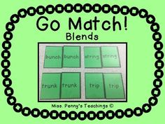 Practice words with blends at the beginning/ ends of words as well as words with digraph blends! Perfect for first grade phonics practice. Can be played like go fish, or memory match!Please let me know what you think of my product in the comments section or email me at misspennysteachings@gmail.com.I'm newly on Instagram!