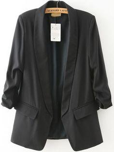Black Lapel Long Sleeve Fitted Blazer 28.50