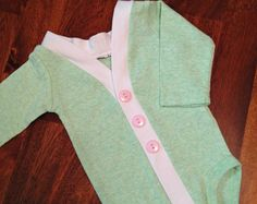 Baby Cardigan One Piece, Mint Infant Cardigan, Easter Outfit, Baby Girl Bodysuit, Child Cardigan, Long Sleeve Cardigan, Baby Shower Gift