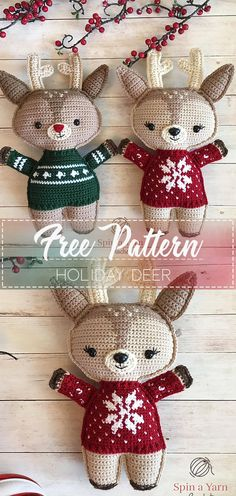 HOLIDAY DEER – Free Crochet Pattern – Crochet Love