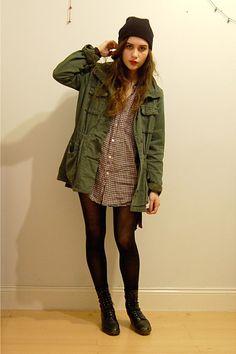 army green Surplus jacket - black vintage boots - checkered menswear shirt