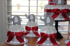 Perfect diaper cakes for my sisters of Delta Sigma Theta! Red and Grey Elephant Baby Shower Diaper Cakes